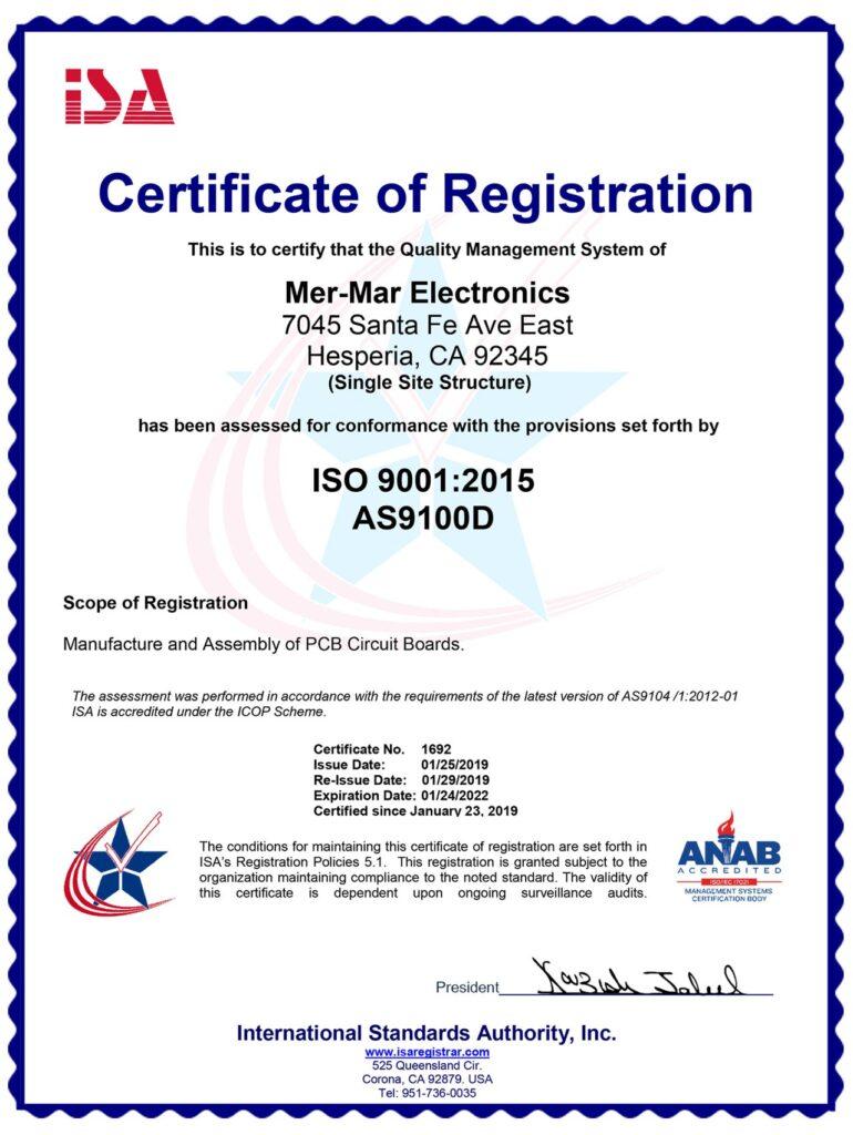 Image of AS9100 Rev D Certificate